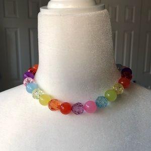 🍭6/$30 Adjustable rainbow plastic bead necklace